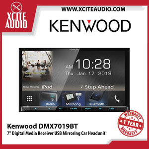 "Kenwood DMX7019BT 7"" Double-Din Digital Media Receiver USB Mirroring, USB, Bluetooth Car Headunit - Xcite Audio"
