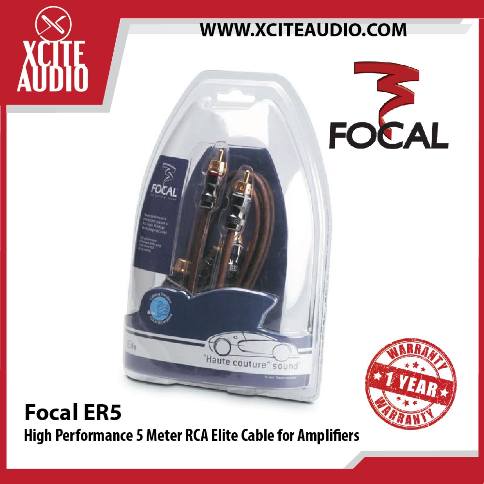 Focal ER5 High Performance 5 Meter RCA Elite Cable for Amplifiers