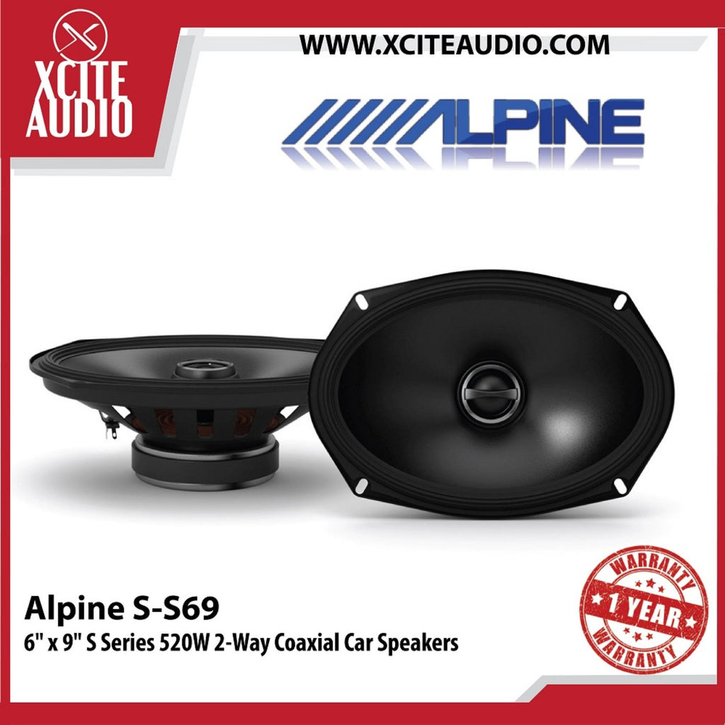 "Alpine S-S69 6"" x 9"" 2-Way S-Series  260 Watts Peak Power Coaxial Car Speakers - Xcite Audio"