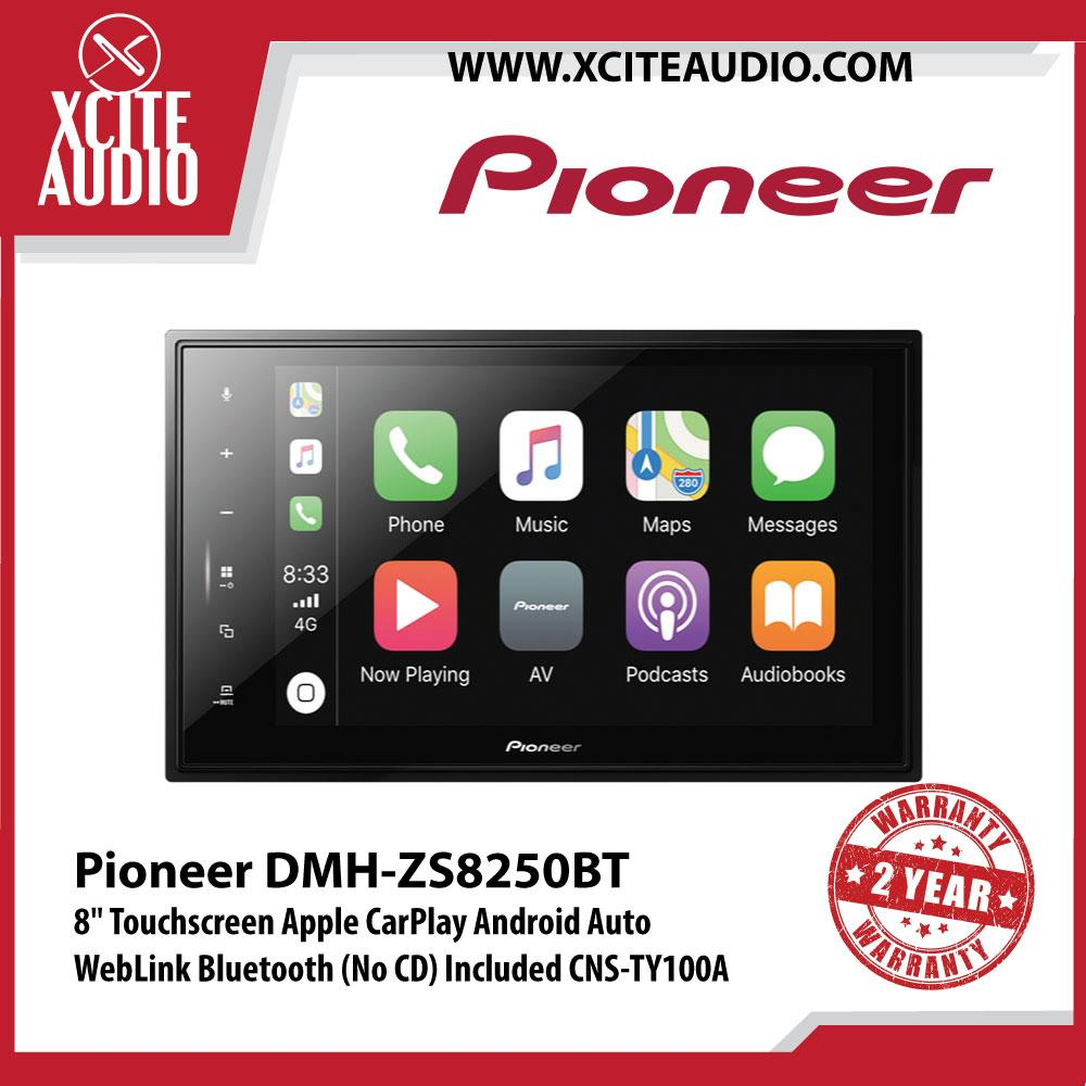 "Pioneer DMH-ZS8250BT 8"" Touchscreen Apple CarPlay Android Auto WebLink Bluetooth Car Headunit (No CD) Included CNS-TY100A"