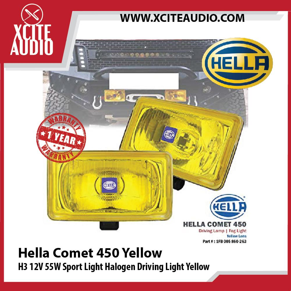 Genuine Hella Comet 450 H3 12V 55W Sport Light Halogen Driving Light Yellow - Xcite Audio