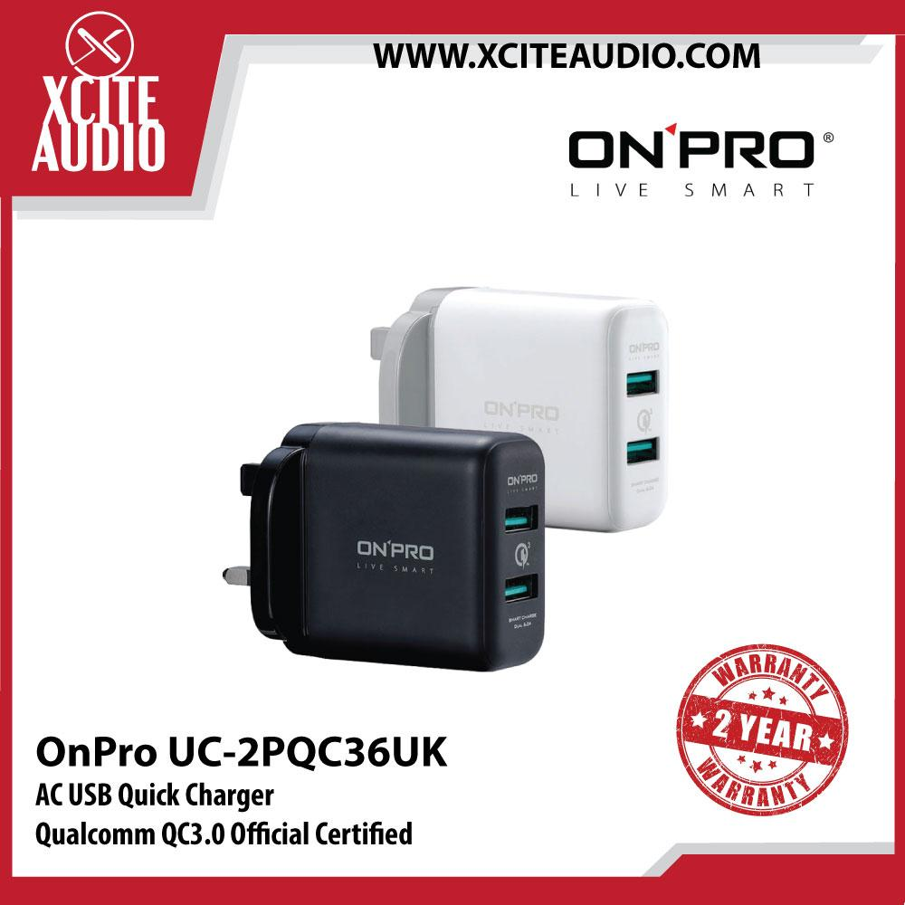 OnPro UC-2PQC36UK AC USB Qualcomm Quick Charge Charger - Xcite Audio