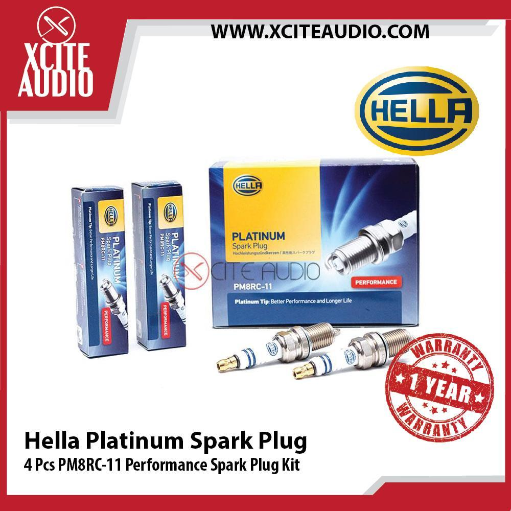 4x Genuine Hella Platinum Spark Plug PM8RC-11 Performance Spark Plug Kit - Xcite Audio
