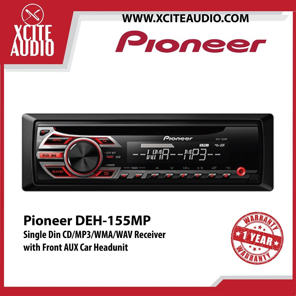 Pioneer DEH-155MP Single Din CD/MP3/WMA/WAV Receiver with Front AUX Car Headunit