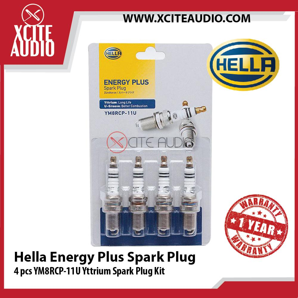 Genuine Hella 4 Pcs Energy Plus Spark Plug YM8RCP-11U Yttrium Spark Plug Kit - Xcite Audio