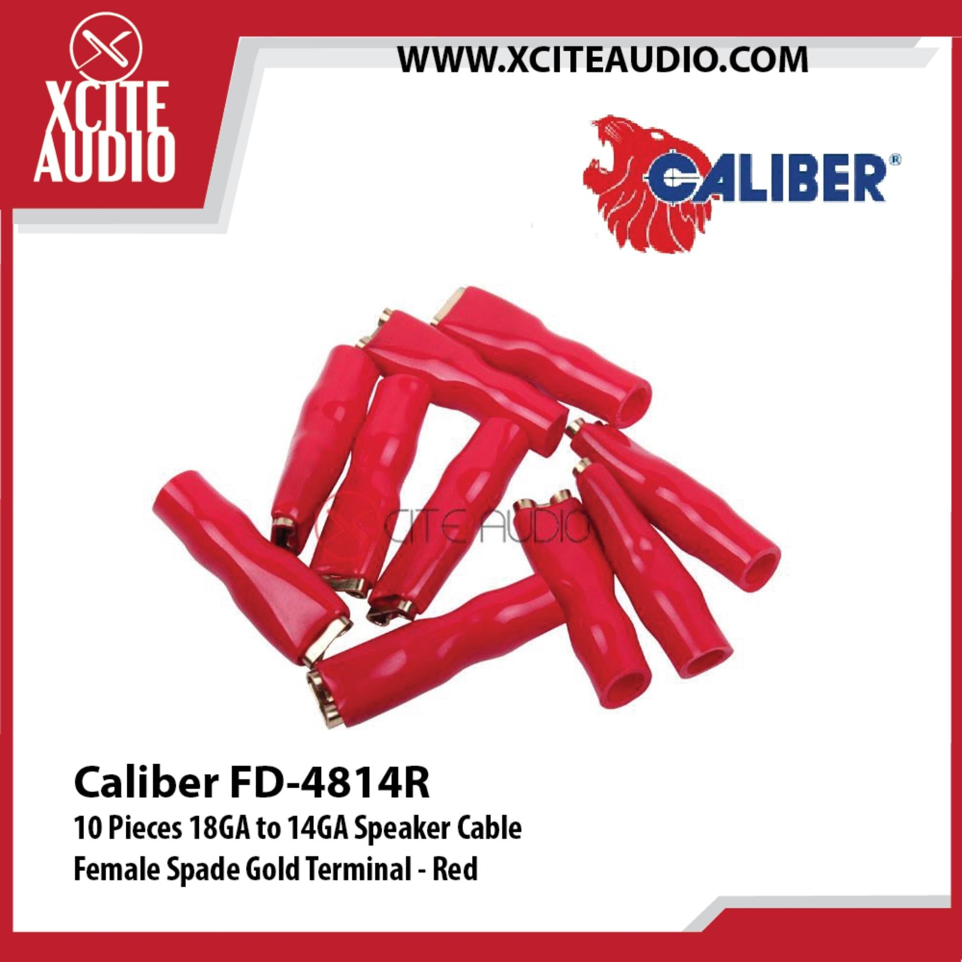 Caliber FD-4814R 10 Pieces 18GA to 14GA Speaker Cable Female Spade Gold Terminal - Red - Xcite Audio