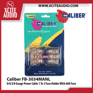 Caliber 3034MANL 0/4/2/8 Gauge Power Cable 1 To 3 Fuse Holder With 60A Fuse - Xcite Audio