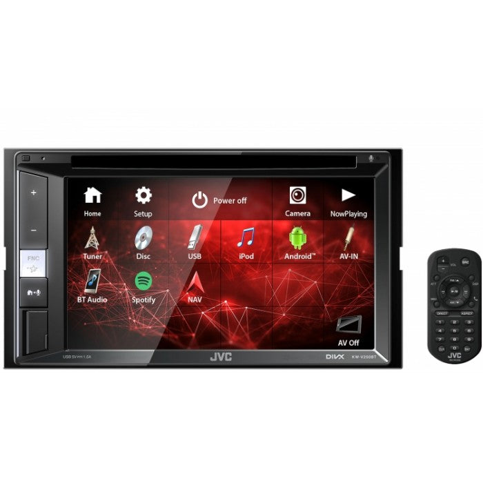 "JVC KW-V250BT 6.2"" Double-Din DVD/ CD/ USB Receiver and Built-in Bluetooth Car Stereo - Xcite Audio"