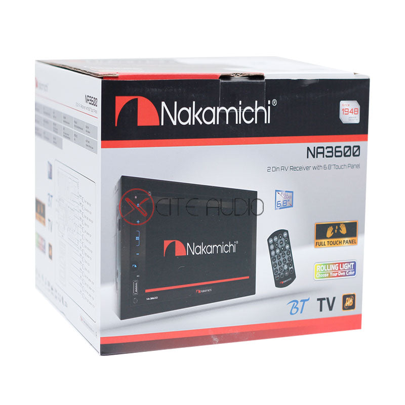 "Nakamichi NA3600 6.8"" WVGA 2-Din Full HD Bluetooth /USB /MP3 /WMA / AUX AV Receiver - Xcite Audio"