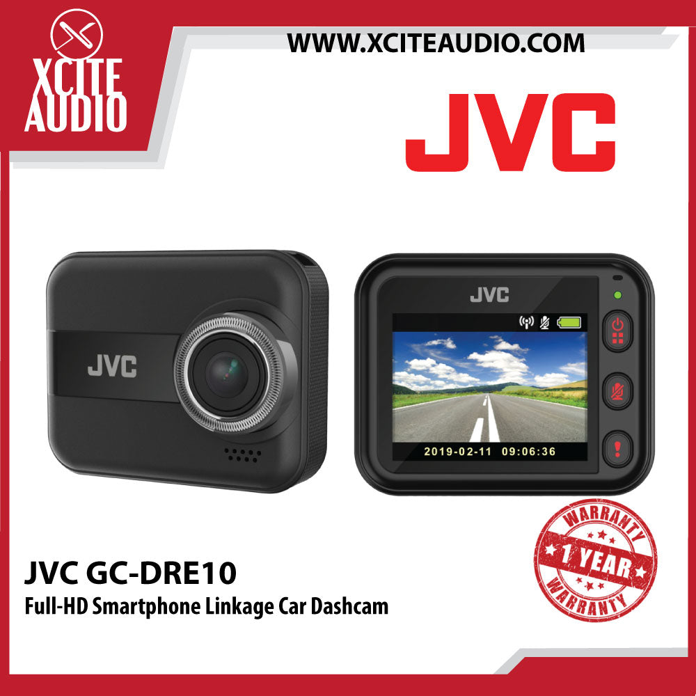 JVC GC-DRE10 Full-HD with Wi-Fi, 3-Axis G-Force Sensor and Smartphone Linkage Car Dashcam