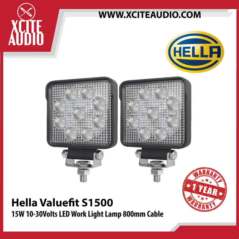 Genuine Hella Valuefit S1500 15W 10-30Volts LED Work Light Lamp 800mm Cable - Xcite Audio