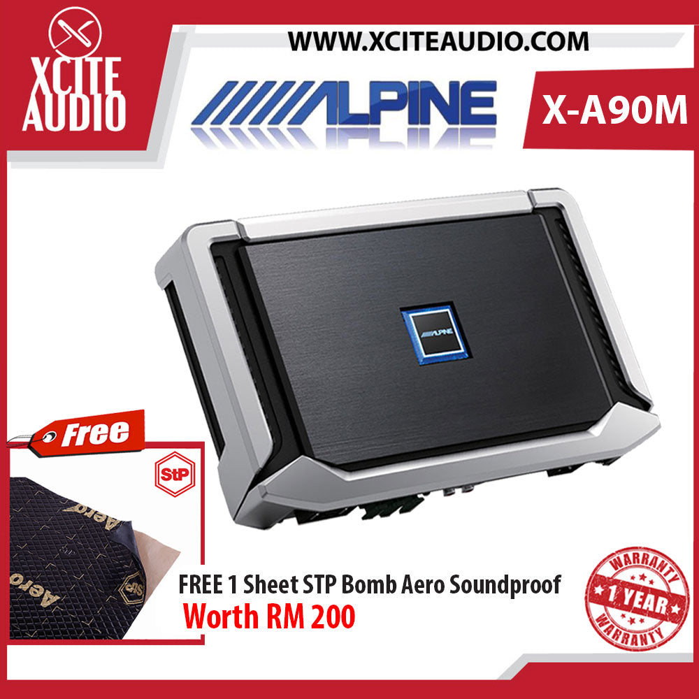Alpine X-A90M Monoblock 1-CH Class-D Car Amplifier Foc 1 x STP Bomb Aero Soundproof - Xcite Audio