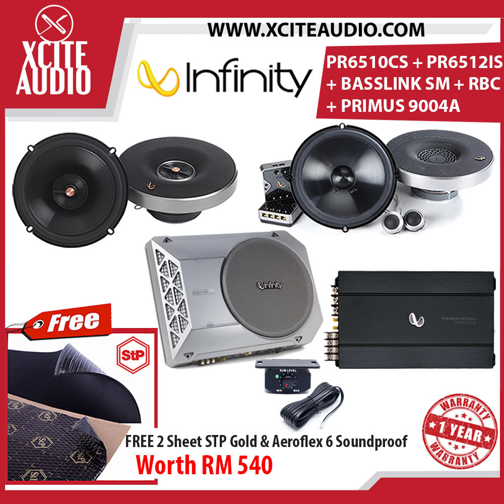Infinity PR6510CS + PR6512IS + PRIMUS 9004A + BASSLINK SM + RBC Car Audio System FOC 2 x STP Gold Soundproof & 2 x STP Aeroflex 6 - Xcite Audio