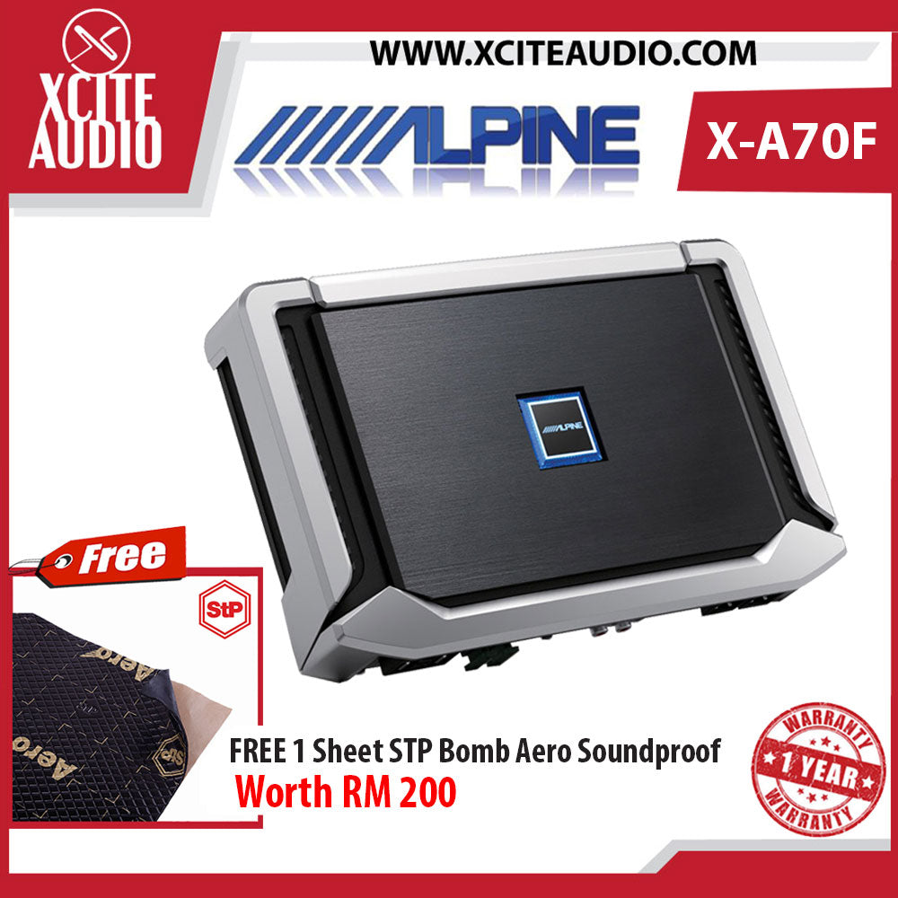 Alpine X-A70F X-Series HI-Res 4/3/2-Channel Class-D Car Amplifier Foc 1 x STP Bomb Aero Soundproof - Xcite Audio