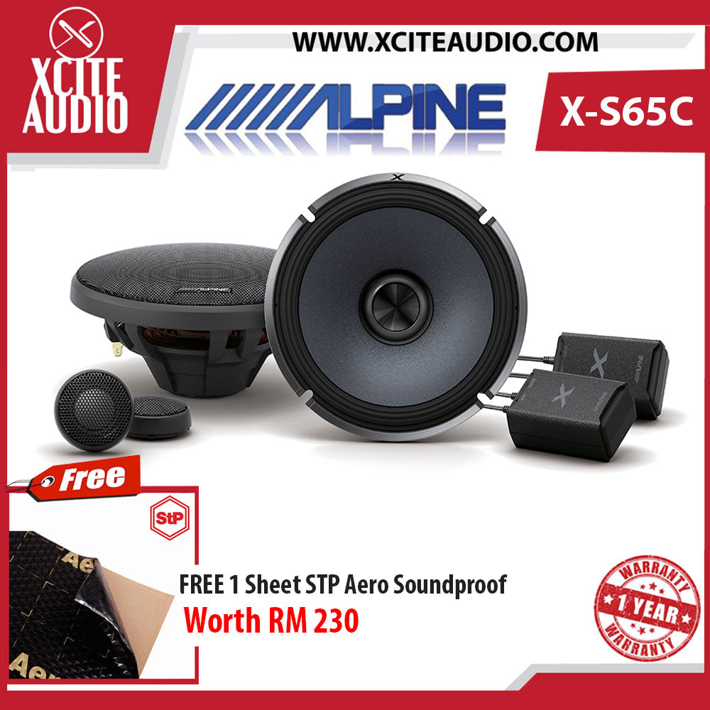 "Alpine X-S65C 6.5"" 2-Way X-Series Hi-Res 360Watts Component Car Speakers Foc 1 x STP Aero Soundproof - Xcite Audio"
