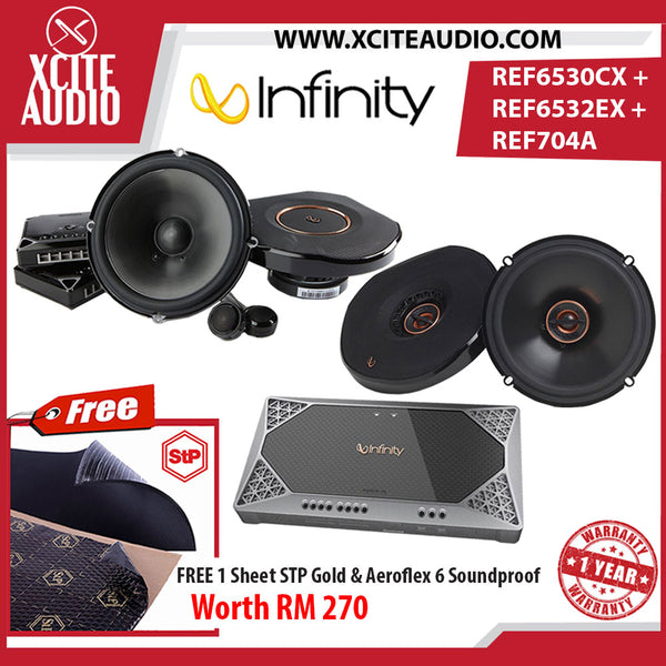 Infinity REF-6530CX + REF-6532EX + REF-704A Car Speakers Combo Package FOC 1 x STP Gold Soundproof & 1 x STP Aeroflex 6