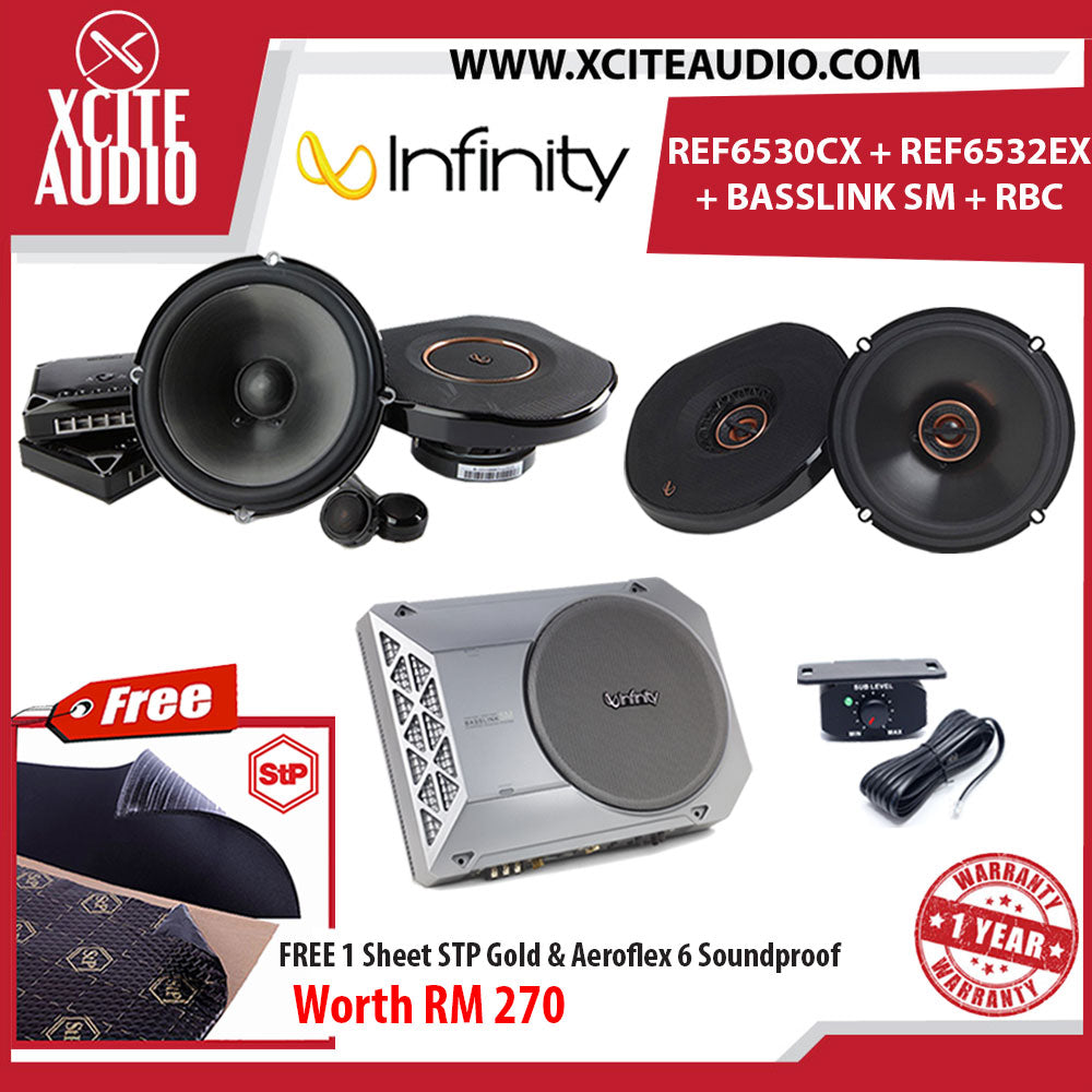 Infinity REF6530CX+REF6532EX+Basslink SM with RBC Remote Car Audio Set Foc 1 x STP Gold Soundproof & 1 x STP Aeroflex 6 - Xcite Audio