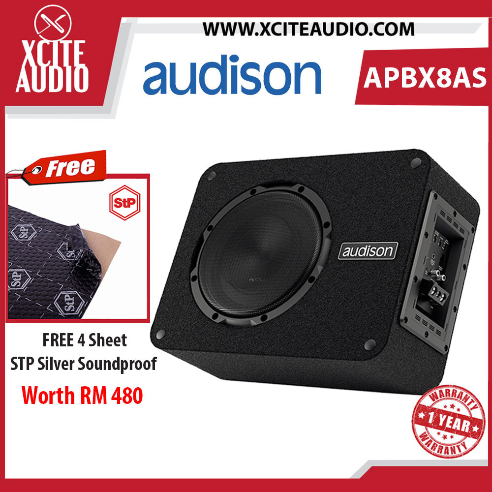 "Audison APBX 8 AS Prima Series 8"" 500 Watts Active Subwoofer Box FOC 4 x STP Silver Soundproof"