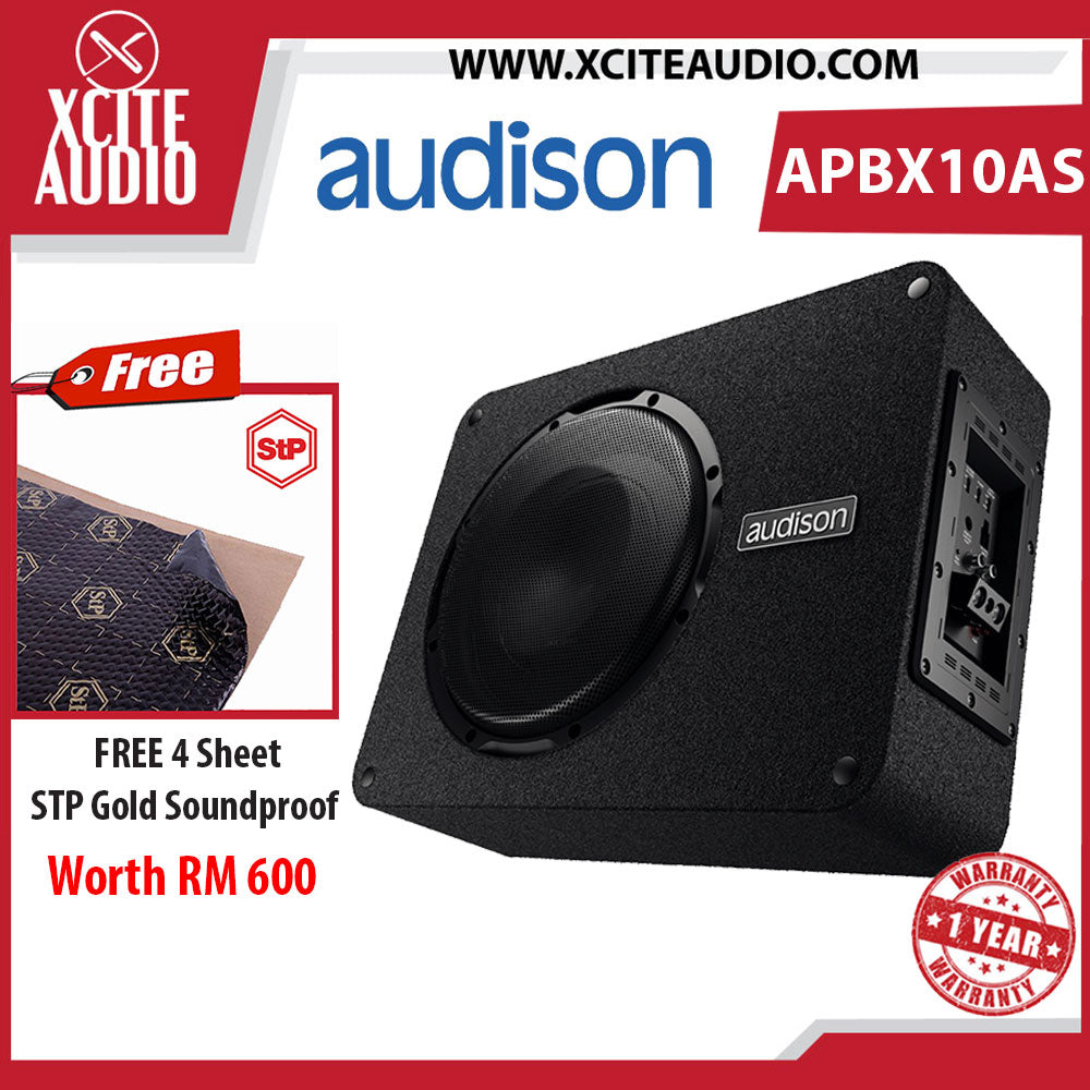 "Audison APBX 10 AS 10"" Prima Series 800Watts Active Subwoofer Box FOC 4 x STP Gold Soundproof"