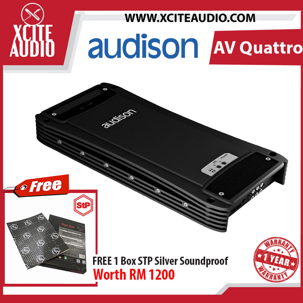 Audison Voce Series AV Quattro 4 Channel Car Amplifier FOC 1 x STP Silver Soundproof BULK Pack