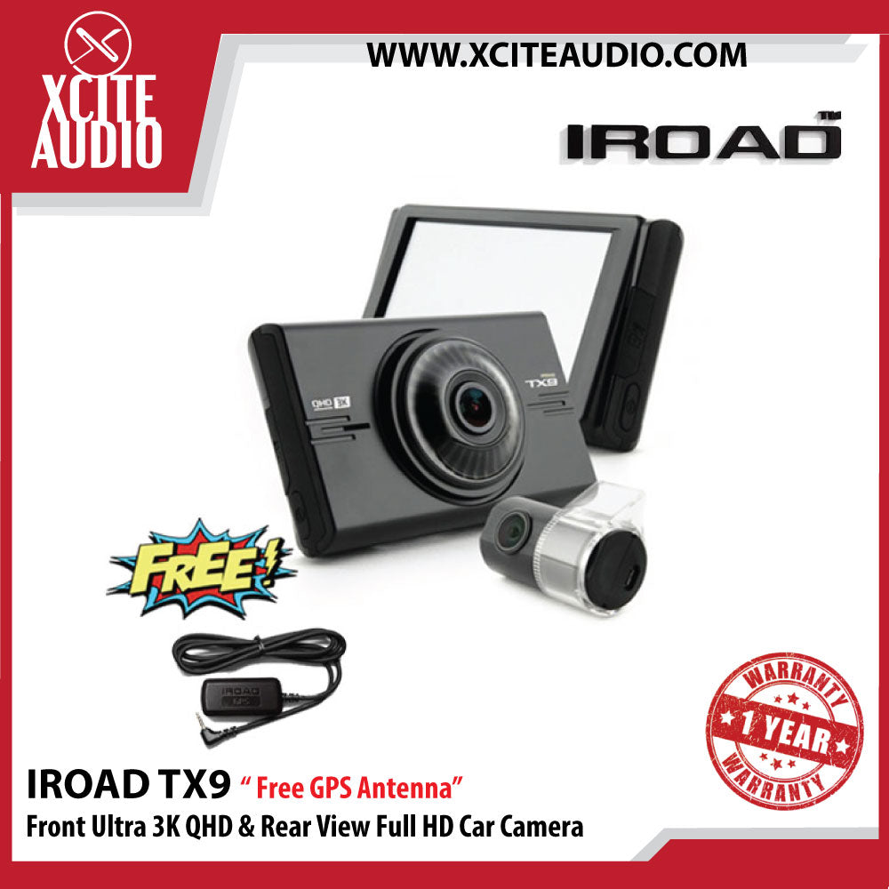 Iroad TX9 Front Ultra 3K QHD & Rear Full HD Car Camera (32gb) - Free GPS Antenna