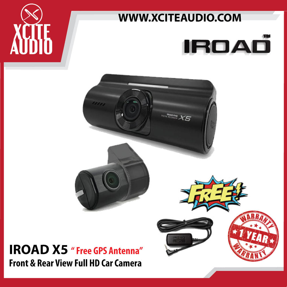 Iroad X5 Front & Rear View 30FPS Full HD Car Camera (16gb) - Free GPS Antenna