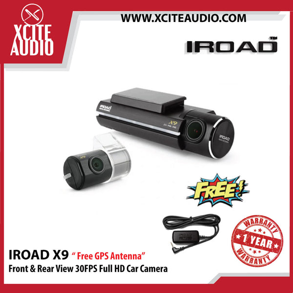 Iroad X9 Front & Rear View 30FPS Full HD Car Camera ( 32gb ) - Free GPS Antenna