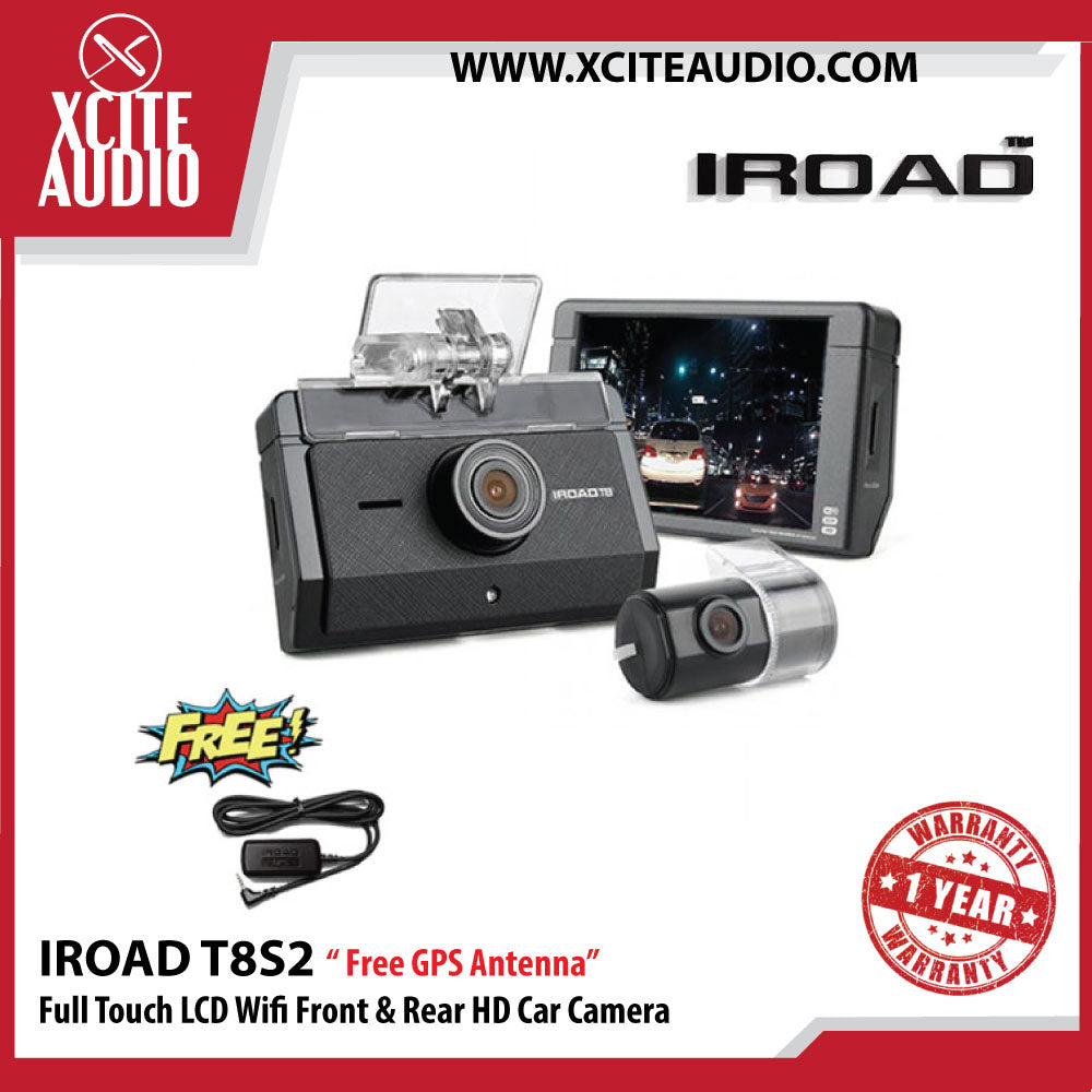 "Iroad T8S2 3.5"""" Full Touch LCD Wifi Connection Front & Rear HD Car Camera ( 32gb ) - Free GPS Antenna - Xcite Audio"