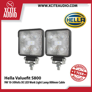 Genuine Hella Valuefit S800 9W 10-30Volts DC LED Work Light Lamp 800mm Cable - Xcite Audio