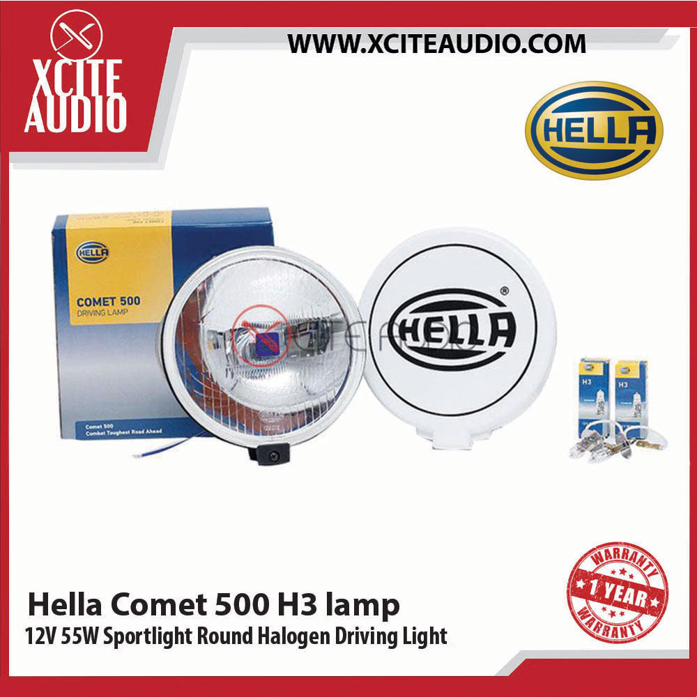 Genuine Hella Comet 500 H3 12V 55W Sport light Round Halogen Driving Light White - Xcite Audio