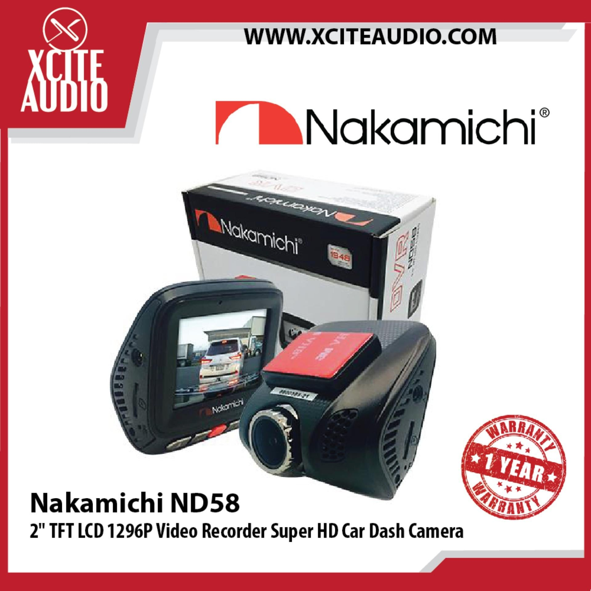 "Nakamichi ND58 2"" TFT LCD 1296P Video Recorder Super HD Car Dash Cam Camera"