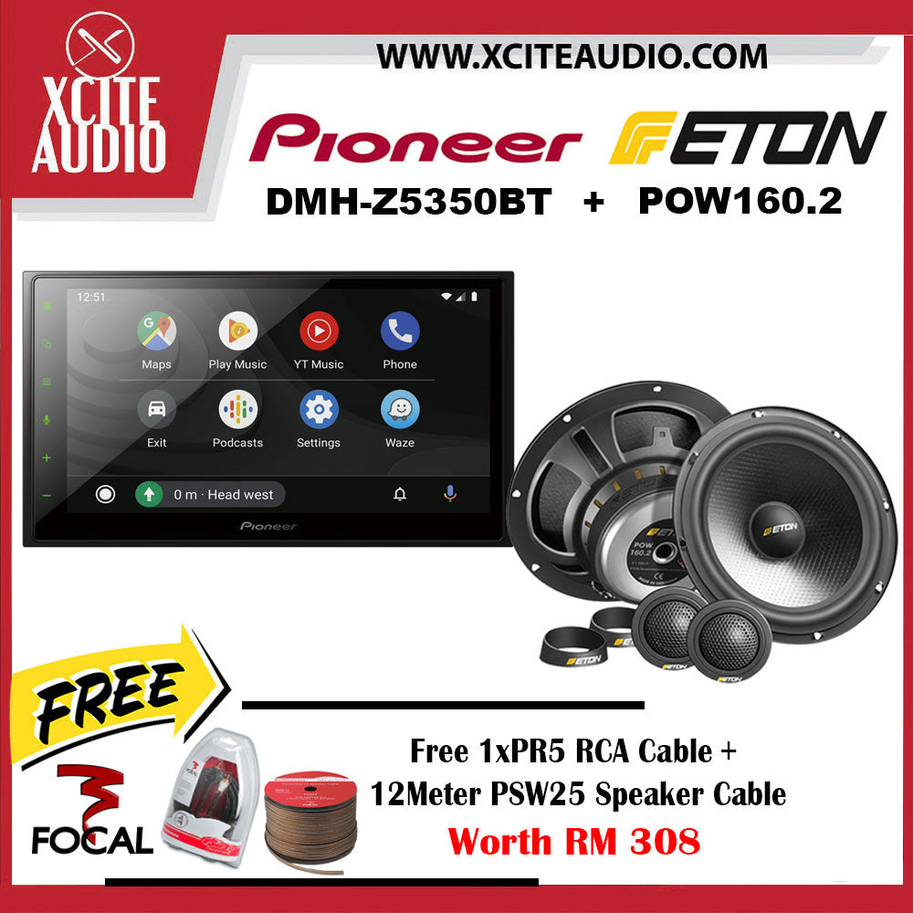 Pioneer DMH-Z5350BT + ETON POW 160.2 Car Audio Combo Package FOC 1 x Focal PR5 RCA Cable + 12 Meter Focal PSW25 Speaker Cable - Xcite Audio