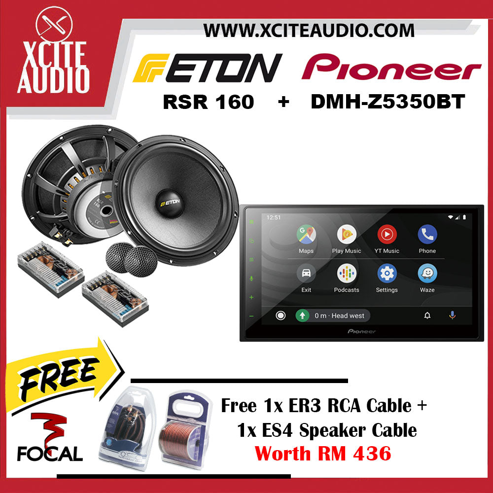 Pioneer DMH-Z5350BT + ETON RSR 160 Car Audio Combo Package FOC 1 x Focal ER3 RCA Cable + 1 x Focal ES4 Speaker Cable - Xcite Audio