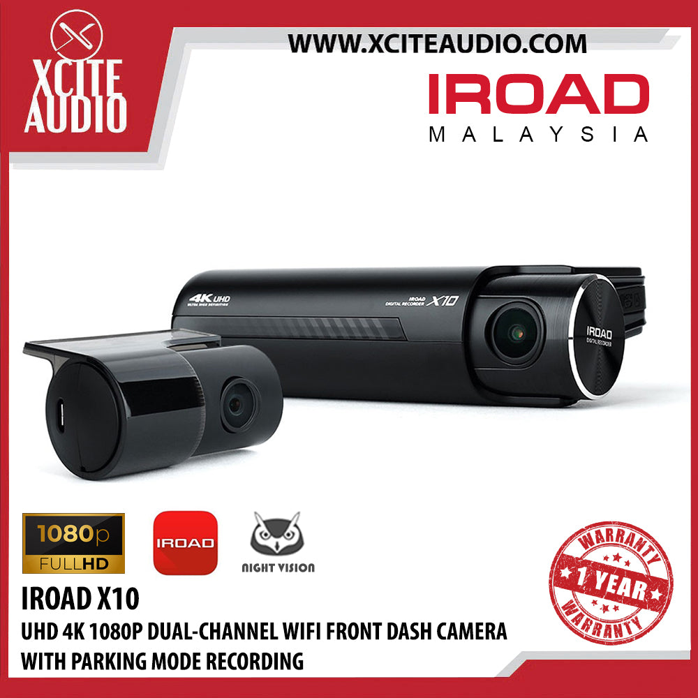 IROAD X10 4K Ultra HD 1080P + Wifi Connection High Resolution Car Camera with Motion Detection & Parking Mode Dash Cam - Xcite Audio