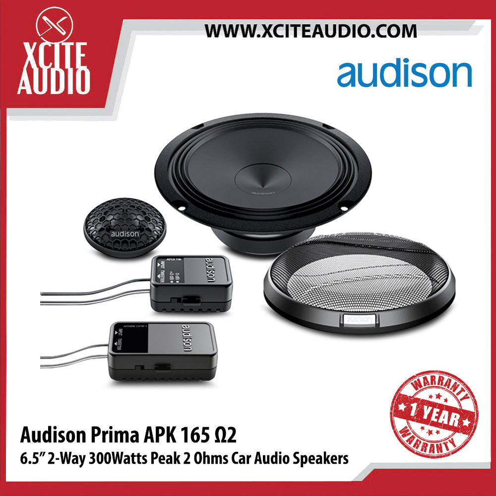 "Audison APK165Ω2 6.5"" 2-Way 300Watts Peak 2-Ohms Car Audio Speakers - Xcite Audio"