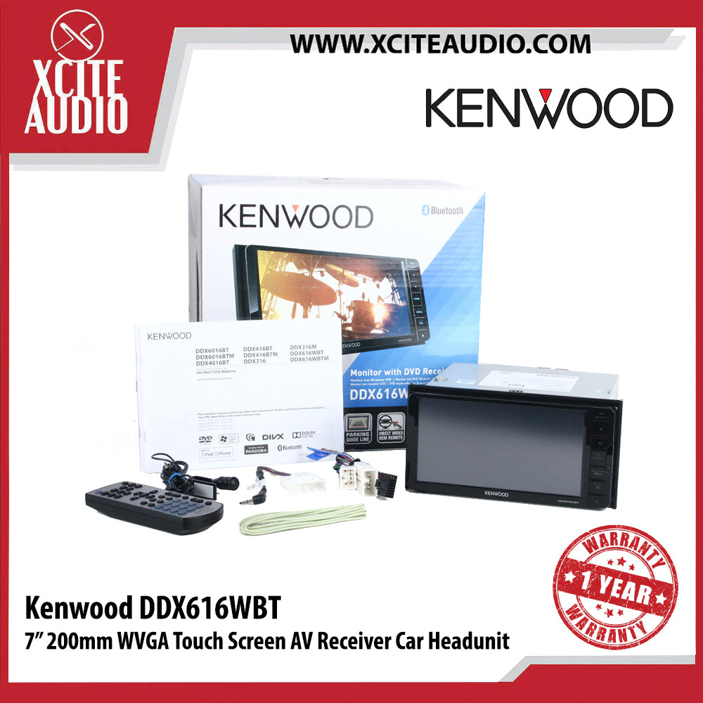 "Kenwood DDX616WBT 7"" Double-Din AV Receiver Car Headunit - Xcite Audio"