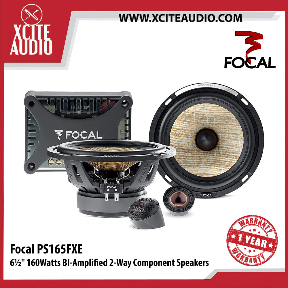 "Focal PS165FXE 6-1/2"" 160Watts 2-Way Bi-Amplified Component Car Speakers - Xcite Audio"