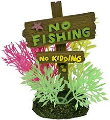 Blue Ribbon No Fishing No Kidding Sign Small EE-1143