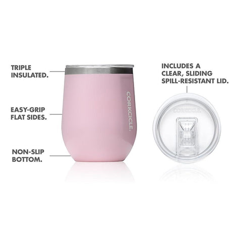 CORKCICLE | Stainless Steel Insulated Stemless 12oz  (355ml) - Rose Quartz
