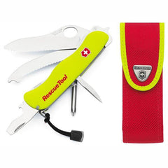 Opened VICTORINOX Rescue Tool - Luminescent Yellow with Sheath