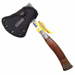 Estwing Sportsman Axe with Sheath on and Leather Grip
