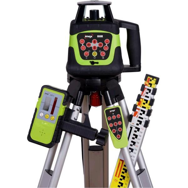Imex 88R Red Beam Rotating Laser Level Kit - w/- Tripod & 5m Staff