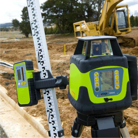Imex 99DG Dual Grade Rotating Laser Level Kit - w/- Tripod & Staff