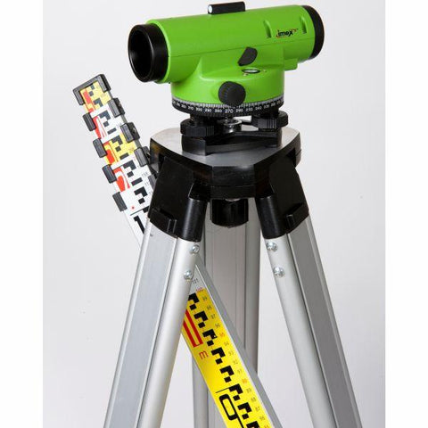 Imex LAR 32 Magnification Auto level w/tripod and 5m staff