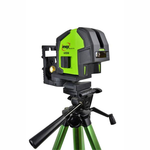 Imex LX22GS 2 Line CrossLine Plumb Laser Level - Set w/- Elevating Tripod - Green Beam