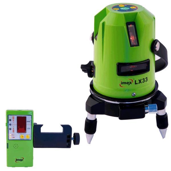 Imex LX33 Red Beam 3 Line Laser Level - 1 Horizontal & 2 Vertical Lines -  w/- Line Detector