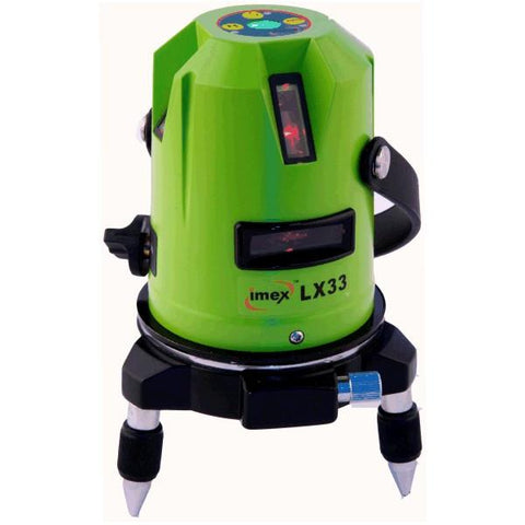 Imex LX33 Red Beam 3 Line Laser Level - 1 Horizontal & 2 Vertical Lines