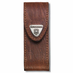 Front View of VICTORINOX Brown Leather Belt Pouch - Large (05691)
