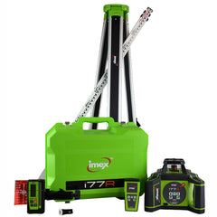 Imex i77R Rotating Red Beam Laser kit - Horizontal Grade only - w/- Tripod & 5m Staff