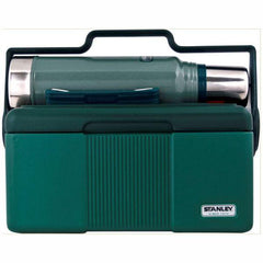 Front View of STANLEY | Classic COMBO PACK Vacuum Flask and Cooler in Hammertone Green